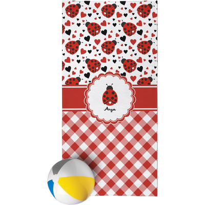 Ladybugs & Gingham Beach Towel (Personalized)