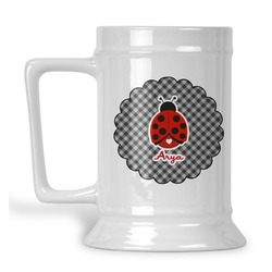 Ladybugs & Gingham Beer Stein (Personalized)