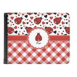 Ladybugs & Gingham Genuine Leather Men's Bi-fold Wallet (Personalized)