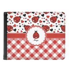 Ladybugs & Gingham Genuine Leather Men's Bi-fold Wallet (Personalized)