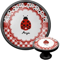 Ladybugs & Gingham Cabinet Knob (Black) (Personalized)