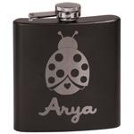 Ladybugs & Gingham Black Flask Set (Personalized)
