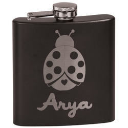 Ladybugs & Gingham Black Flask (Personalized)
