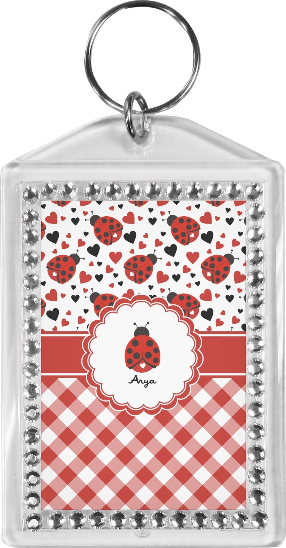Ladybugs Gingham Bling Keychain Personalized You