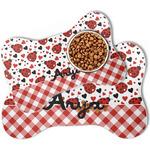 Ladybugs & Gingham Bone Shaped Dog Food Mat (Personalized)