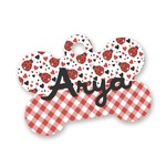 Ladybugs & Gingham Bone Shaped Dog Tag (Personalized)