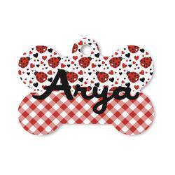Ladybugs & Gingham Bone Shaped Dog Tag (Personalized)