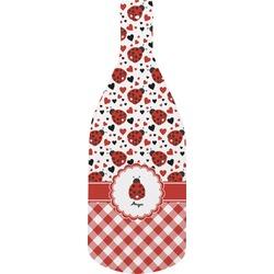 Ladybugs & Gingham Bottle Shaped Cutting Board (Personalized)