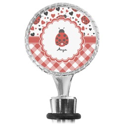 Ladybugs & Gingham Wine Bottle Stopper (Personalized)