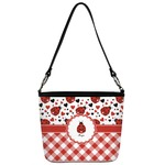 Ladybugs & Gingham Bucket Bag w/ Genuine Leather Trim (Personalized)