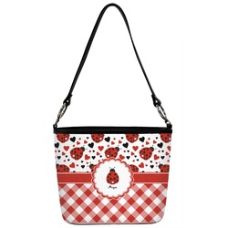 Ladybugs & Gingham Bucket Bag w/ Genuine Leather Trim (Personalized)