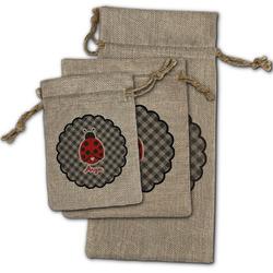 Ladybugs & Gingham Burlap Gift Bags (Personalized)
