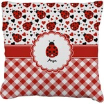 Ladybugs & Gingham Faux-Linen Throw Pillow (Personalized)
