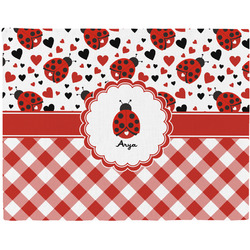 Ladybugs & Gingham Woven Fabric Placemat - Twill w/ Name or Text