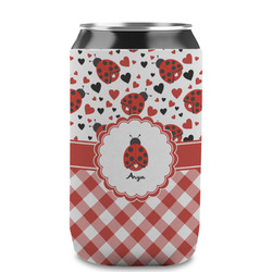 Ladybugs & Gingham Can Sleeve (12 oz) (Personalized)
