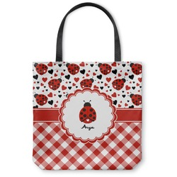 Ladybugs & Gingham Canvas Tote Bag (Personalized)