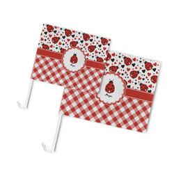 Ladybugs & Gingham Car Flag (Personalized)
