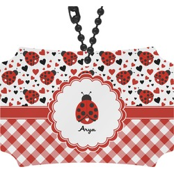 Ladybugs & Gingham Rear View Mirror Ornament (Personalized)