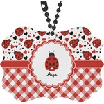 Ladybugs & Gingham Rear View Mirror Decor (Personalized)