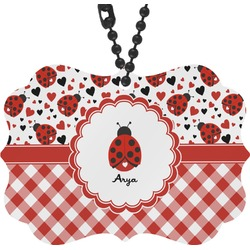 Ladybugs & Gingham Rear View Mirror Charm (Personalized)