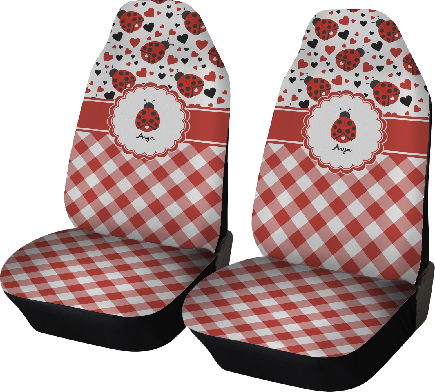 Ladybugs Amp Gingham Car Seat Covers Set Of Two