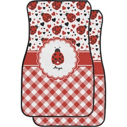 Ladybugs & Gingham Car Floor Mats (Front Seat) (Personalized)
