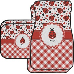 Ladybugs & Gingham Car Floor Mats Set - 2 Front & 2 Back (Personalized)