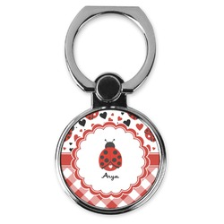 Ladybugs & Gingham Cell Phone Ring Stand & Holder (Personalized)