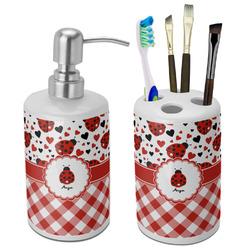 Ladybugs & Gingham Ceramic Bathroom Accessories Set (Personalized)