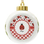 Ladybugs & Gingham Ceramic Ball Ornament (Personalized)