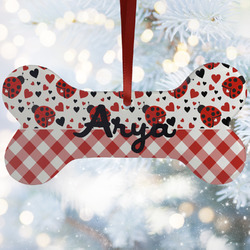 Ladybugs & Gingham Ceramic Dog Ornaments w/ Name or Text