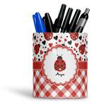 Ladybugs & Gingham Ceramic Pen Holder