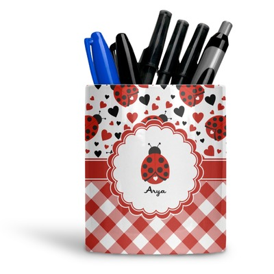 Ladybugs & Gingham Ceramic Pen Holder