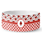 Ladybugs & Gingham Ceramic Dog Bowl (Personalized)