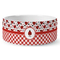 Ladybugs & Gingham Ceramic Dog Bowl (Personalized)