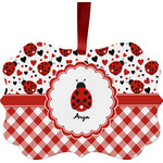 Ladybugs & Gingham Ornament (Personalized)