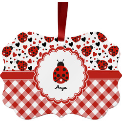 Ladybugs & Gingham Metal Frame Ornament - Double Sided w/ Name or Text