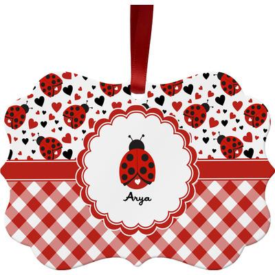 Ladybugs & Gingham Ornament (Personalized)