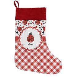 Ladybugs & Gingham Holiday Stocking w/ Name or Text