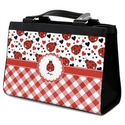 Ladybugs & Gingham Classic Tote Purse w/ Leather Trim (Personalized)