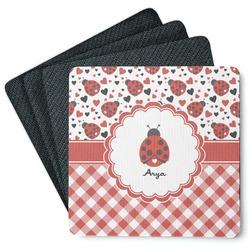 Ladybugs & Gingham 4 Square Coasters - Rubber Backed (Personalized)
