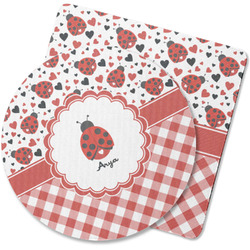 Ladybugs & Gingham Rubber Backed Coaster (Personalized)