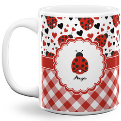 Ladybugs & Gingham 11 Oz Coffee Mug - White (Personalized)
