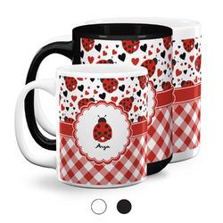 Ladybugs & Gingham Coffee Mugs (Personalized)