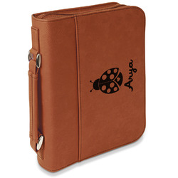 Ladybugs & Gingham Leatherette Bible Cover with Handle & Zipper - Large- Single Sided (Personalized)