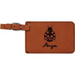 Ladybugs & Gingham Leatherette Luggage Tag (Personalized)