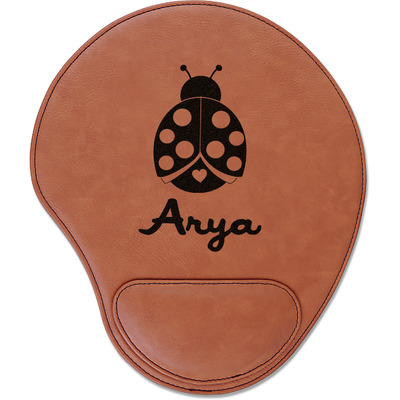 Ladybugs & Gingham Leatherette Mouse Pad with Wrist Support (Personalized)