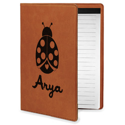 Ladybugs & Gingham Leatherette Portfolio with Notepad - Small - Single Sided (Personalized)