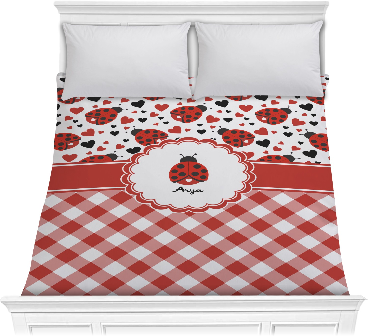 ladybugs gingham comforter full queen personalized you