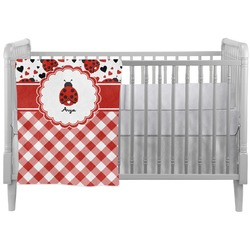 Ladybugs & Gingham Crib Comforter / Quilt (Personalized)